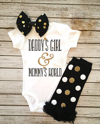 Newborn Baby Girls Daddy's Girl Romper+Leg Warmers Bow Outfits Clothes Set