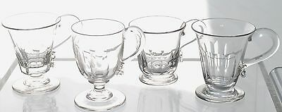 Set of 4 Antique Victorian Slice Cut Blown Glass Footed Punch Eggnog Cups