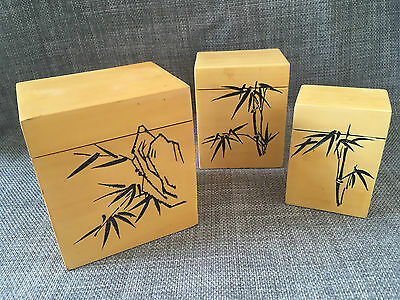 Vintage Chinese Bamboo Veneer Carved Wooden Graduated Size Trinket Boxes