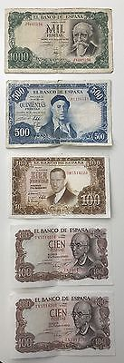5 X Mixed Spanish Banknote Collection - Spain - Europe - Pesetas. (1122)