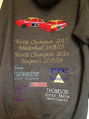 saloon stock car embroidered hoodys