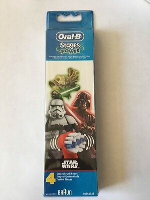 Oral-B Stages Kids Star Wars Replacement Toothbrush Heads - Pack of 4 UK SELLER