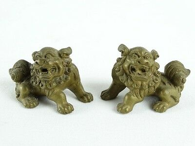 Antique Solid Brass Chinese Artists Scroll Weights Foo Guardian Lions China
