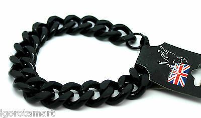 1X MEN'S BLACK  JEWELRY CUBAN CURB CHAIN Stainless Steel Link Biker Bracelet