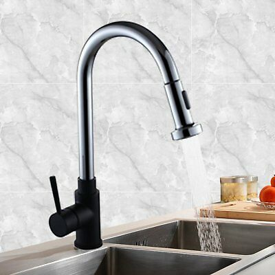 Black Kitchen Laundry Sink Pull Out Mixer Tap Faucet Shower Spout Brass Round AU