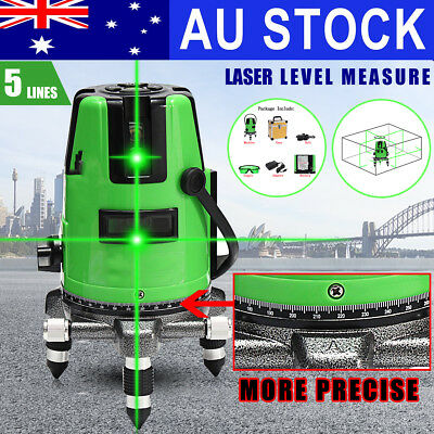 5 Line Green Self Leveling Laser Level Auto 360 Rotating Rotary Cross +Hard Case
