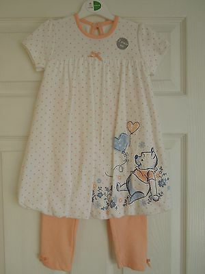 Girls 18-24 1-2 yrs Summer Dress & Leggings Set George Pooh Bear BNWT Next Day