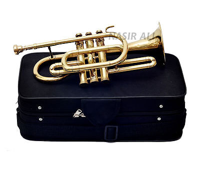 GOLD LOOK SHINY CORNET BRASS POLISHED Bb KEYS FOR SALE WITH FREE HANDMADE CASE