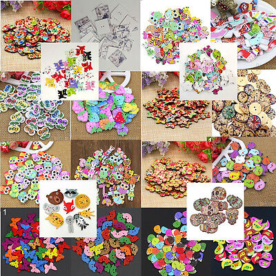 50Pcs Assorted Animal 2 Holes Wooden Buttons Sewing Craft Scrapbooking Diy Good
