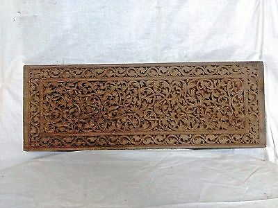 19th C Antique Hand Floral Carved Wall Hanging Wooden Panel Vintage Home Decor