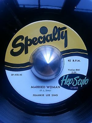 "Frankie Lee Sims 45 Re - ""married Woman/long Gone"" Monster Blues Bopper ♫Hear♫"