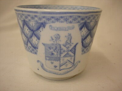 Early Blue White Transferware Cup With Heraldic Shield