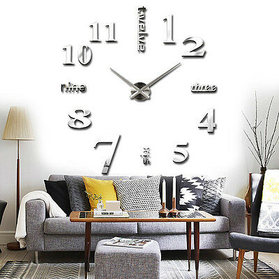 Large DIY 3D Frameless Number Wall Clock Sticker Battery Powered for Home Office