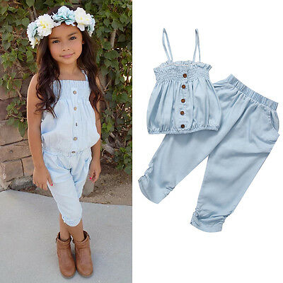 US Stock Kids Girls Toddler Jean Top T shirt + Pants Summer Outfit Set Clothes