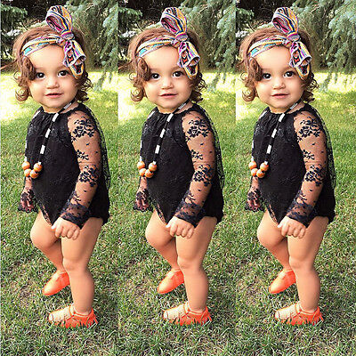 US Stock Newborn Baby Girls Infant Lace Romper Jumpsuit Bodysuit Outfits Clothes