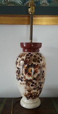 Opalescent /vaseline antique glass lamp hand painted.