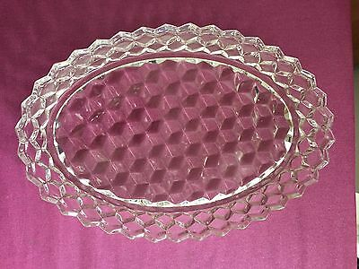 American Fostoria Cubed Oval Glass Fruit Bowl 12 Inches Ex Condt