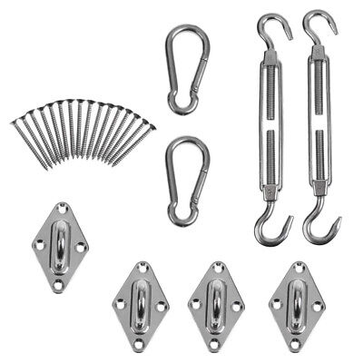 Heavy Duty Sun Shade Sail Complete Hardware Kit For Square / Rectangle Sails