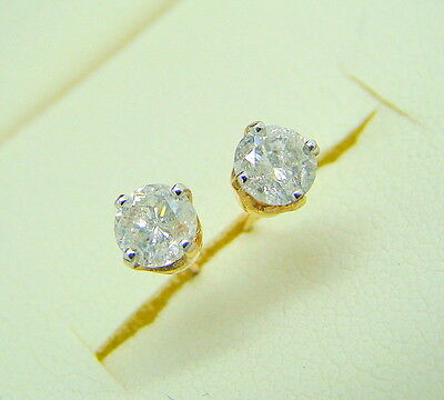9ct Yellow Gold 0.50ct Diamond Solitaire Stud Earrings Boxed Half Carat