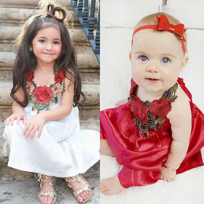 Toddler Kids Baby Girls Party Flower Dress Pageant Clothes Summer 6M-5T US Stock