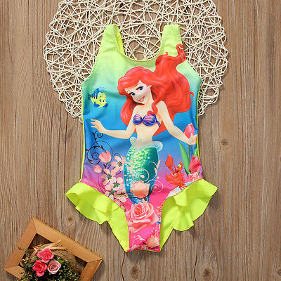 US Stock Kids Girls Toddler Ariel Swimsuit Swimwear Bathing Suit Bikini Tankinis