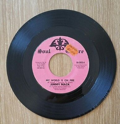 "Jimmy Mack My World Is On Fire - Northern Soul Galore Usa 7"" Rare"