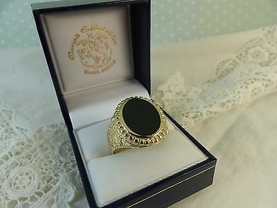 Gent's Vintage Style 9ct 9carat Yellow Gold Bloodstone Signet Ring, Size Y