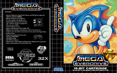 Everdrive Sega Mega Drive Replacement Box Art Case Insert Cover Scan Inlay