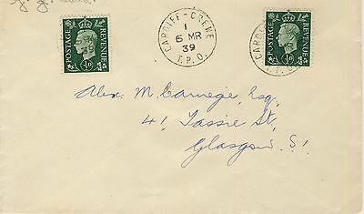 1939 Cardiff-Crewe TPO index i on cover to Glasgow