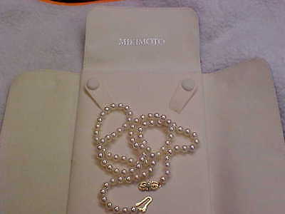 Mikimoto Pearl Necklace 24inch 18k yellow gold grade A with case