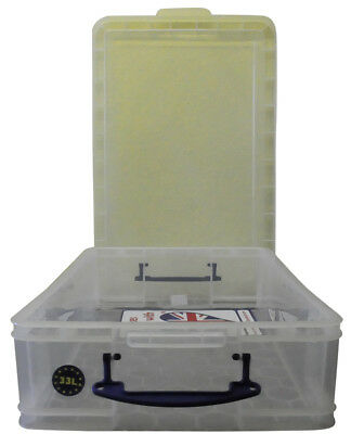 Really Useful Box 33C 33 Liter Transparent 710x440x165 mm PP mit Deckel u. Griff