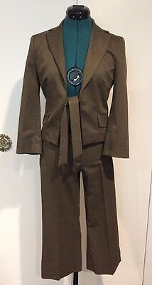BCBG Two Piece Olive Green Stretch Wool Blend Crop Pant Suit Size XS EXCELLENT!