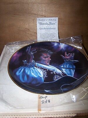 "1989 Elvis Presley Remembered 7th in Series ""Moody Blues"" Plate Susie Morton COA"