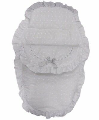 Silver Ribbon Bow & White Broderie Anglaise Romany Style Footmuff Cosy Toes