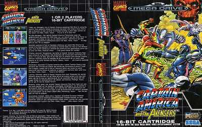 Captain America Sega Mega Drive PAL Replacement Box Art Case Insert Cover Scan