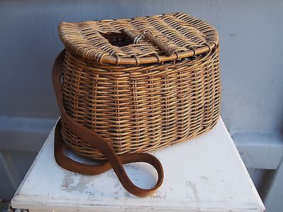 vintage fine antique fly fishing creel woven basket leather detail cabin decor
