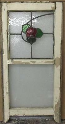 """MID SIZED OLD ENGLISH LEADED STAINED GLASS WINDOW Lovely Fractal Floral 15""""x30"""""""