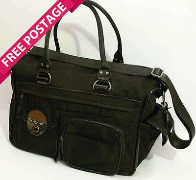FREE POST MIMCO Lucid Black Baby Nappy Bag Silver NEW RRP $299