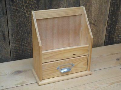 Wooden Letter Post Tidy Pen Drawer Desk Organiser