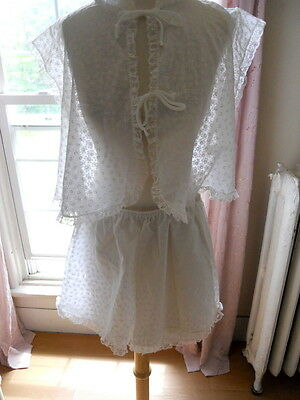 Vintage White Lingerie Tap Pants Short Pajama Set size Small NWT