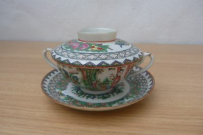 Very Nice Perfect Antique Chinese Canton Famille Rose Tea Bowl, Cover And Saucer
