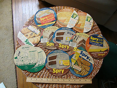 12 vintage Spry shortening advertisements with recipes on back