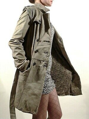 New Giorgio Brato Italy Distressed Vintage Leather Womens Trench Coat Size IT42