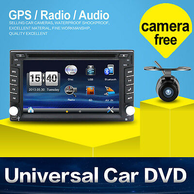 "Doppel 2 DIN 6.2"" Autoradio GPS Navi Bluetooth Touchscreen Stereo DVD Player+CAM"