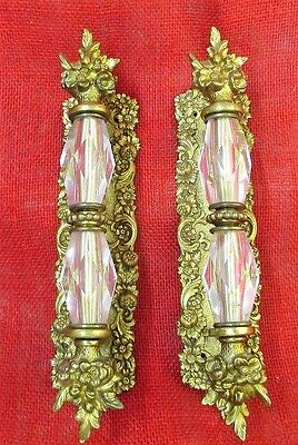 "1 pr. Vintage Ornate Door Handles, Brass, Bronze, Glass, Floral, 2 1/2"" x 11"""