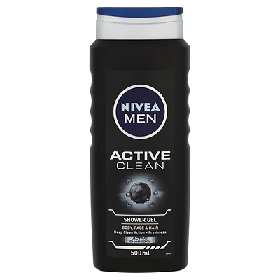Nivea Men Active Clean Shower Gel 500 ml - Pack of 6