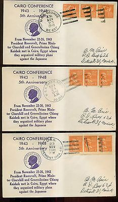 1948 Cairo Conference Anniversary Stamped Covers w/Different Navy Ship Cancels