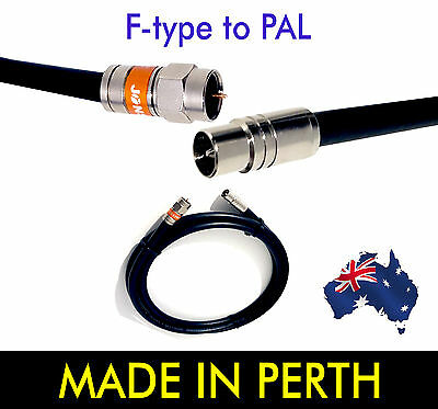 TV Antenna F Type to PAL Male RG6 Quad Shield Aerial Cable Lead Foxtel Satellite