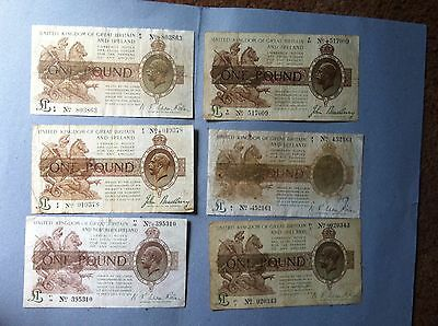 England  6 X Very Old £ 1 Pound Bank Notes - Used