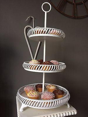 Vintage Style 3 Tier White Cup Cake Stand Wedding , Party, Home, Display.